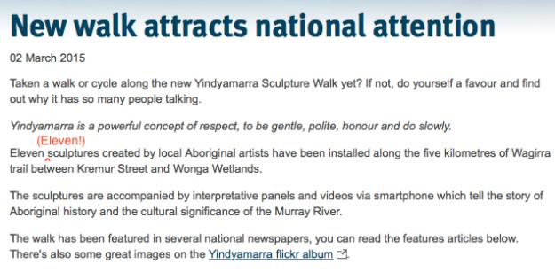 Yindyamarra 11 sculptures!